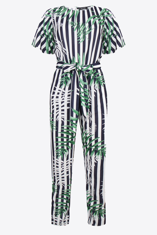 Jumpsuit met all over strepen en bladeren print